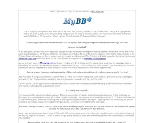 A Forum For Investors & Traders – Bio Forum By Bill Spetrino